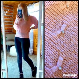 Pink vintage sweater pearl knit wool top XS shirt